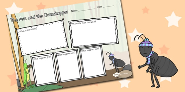 The Ant and the Grasshopper Story Review Writing Frame - frame