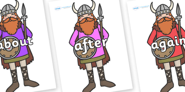 KS1 Keywords on Vikings - KS1, CLL, Communication language and literacy, Display, Key words, high frequency words, foundation stage literacy, DfES Letters and Sounds, Letters and Sounds, spelling