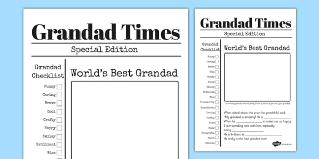 Grandfather Newspaper Card Template - grandfather, newspaper, card