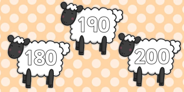 Numbers 10-200 on Sheep - numbers, 10-200, sheep, farm, animal