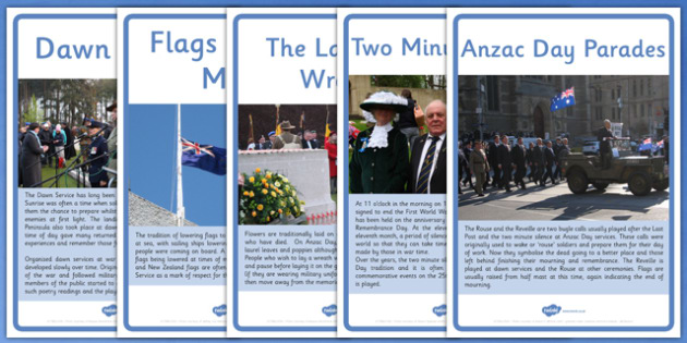 Anzac Day Customs and Traditions Upper School Information Posters - australia, ANZAC Day, History, Dawn Service, Last Post, parade, The Ode, Gallipoli, First World Way, WW1, World War One, display, information, posters