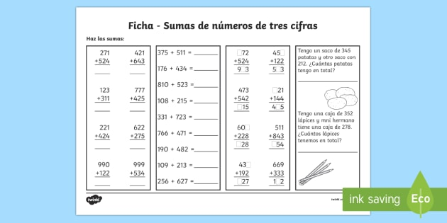Sumas de números de 3 cifras Ficha de actividad