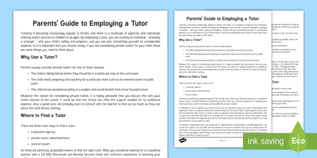 Parents' Guide to Finding a Tutor Parent and Carer Information Sheet - parents, advice, schools, secondary, parents evening
