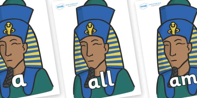 Foundation Stage 2 Keywords on Pharaohs - FS2, CLL, keywords, Communication language and literacy,  Display, Key words, high frequency words, foundation stage literacy, DfES Letters and Sounds, Letters and Sounds, spelling