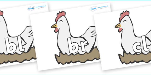 Initial Letter Blends on Hens - Initial Letters, initial letter, letter blend, letter blends, consonant, consonants, digraph, trigraph, literacy, alphabet, letters, foundation stage literacy