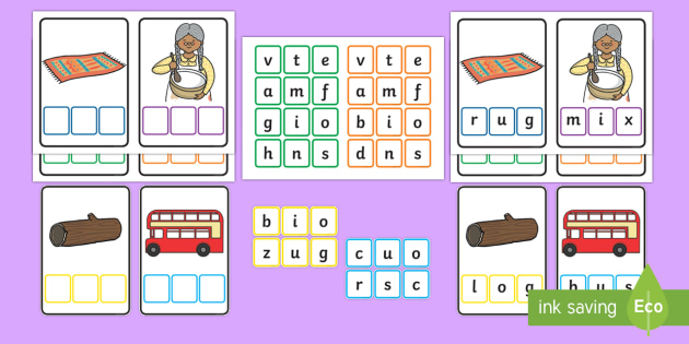 Workstation Pack:  CVC Words Mixed Spelling Activity