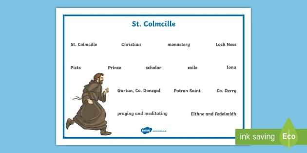 St. Colmcille Word Mat - Ireland, The Land of Saints and Scholars,early christian Ireland,Irish saints, monastic Ireland, St
