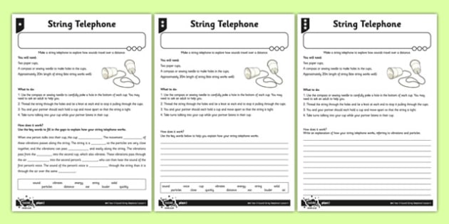 String Telephone Differentiated Activity Sheet - activity sheet, string, telephone, differentiated, worksheet