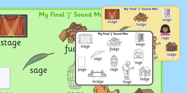 Final 'J' Sound Word Mat - j sound, final, word mat, word, mat