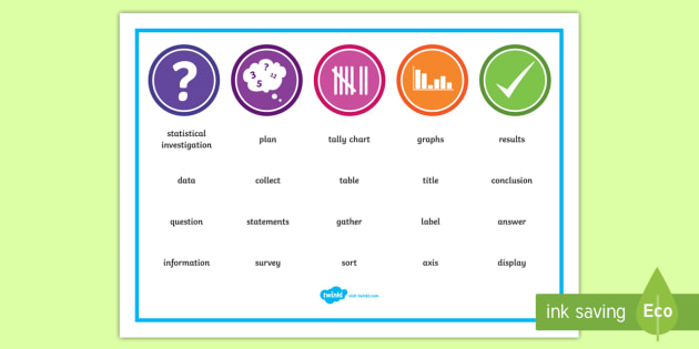 Statistics Word Mat - NZ Statistics (Back to School), key words, maths vocabulary, year 4 maths, year 5 maths, year 6 math