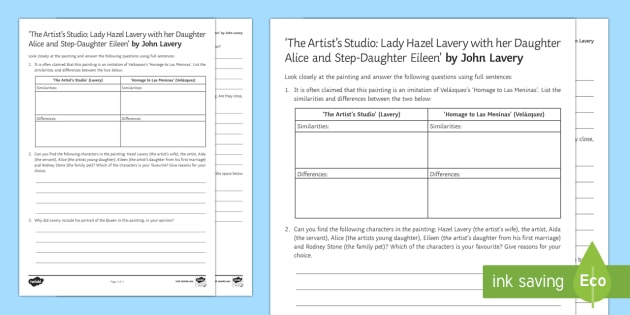 The Artist's Studio Art Appreciation Activity Sheet - Irish Art Resources, art strands, display resources, art appreciation, worksheet, activity sheet, ar