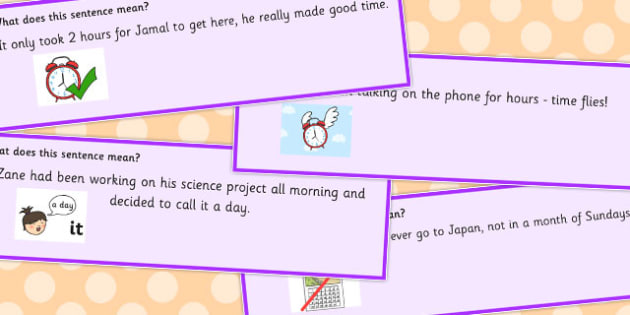 Time Idioms Sentence Cards - time, idioms, sentences, time idioms