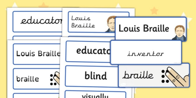 Louis Braille Word Cards - louis braille, braille, word, cards