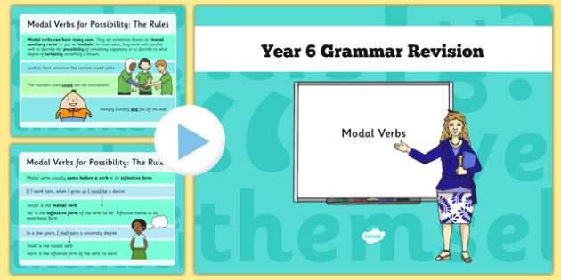 Year 6 Grammar Revision Guide and Quick Quiz Modal Verbs - y6, year 6, KS2, modal verbs, booster, revision, SAT tests, SPaG, possibility, certainty