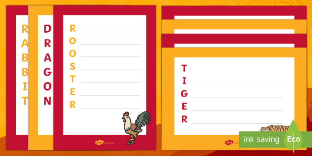 Chinese New Year Animals Acrostic Poem