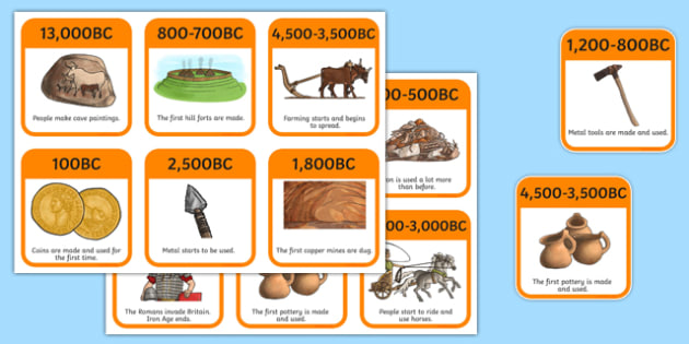 Stone Age to Iron Age Timeline Flashcards - stone age, iron age, timeline flash cards