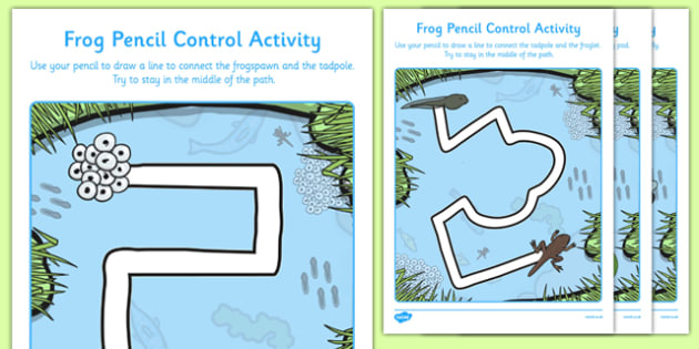 Frog-Themed Pencil Control Path Worksheets - EYFS, Early Years, fine motor skills, PD, mark making