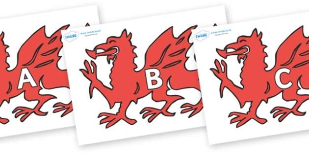 A-Z Alphabet on Welsh Dragons - A-Z, A4, display, Alphabet frieze, Display letters, Letter posters, A-Z letters, Alphabet flashcards