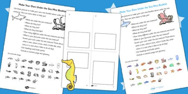 Make Your Own Under the Sea Mini Booklet - books, design, sea