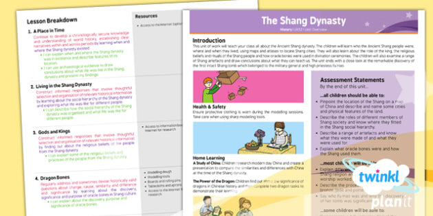 History: The Shang Dynasty UKS2 Unit Planning Overview