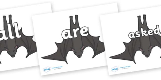 Tricky Words on Bats - Tricky words, DfES Letters and Sounds, Letters and sounds, display, words