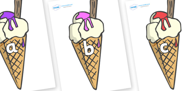 Phase 2 Phonemes on Ice Creams to Support Teaching on The Very Hungry Caterpillar - Phonemes, phoneme, Phase 2, Phase two, Foundation, Literacy, Letters and Sounds, DfES, display