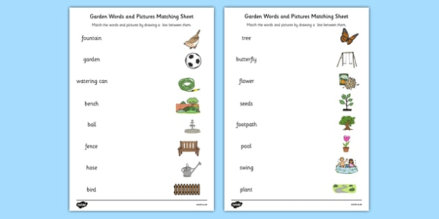 Garden Words and Picture Matching Activity Sheet - garden, words, picture, matching, activity, sheet, worksheet