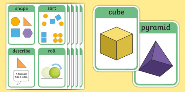 CfE Early Level Numeracy and Mathematics Properties of 2D Shapes and 3D Objects Keyword Flashcards-Scottish