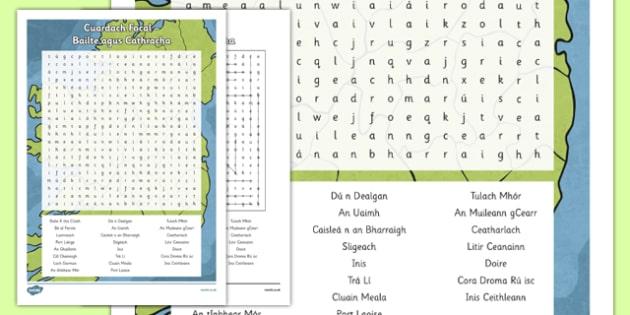 Irish Gaeilge Bailte agus Cathracha Word Search - irish, gaeilge, word search, pack, Tíreolaíocht