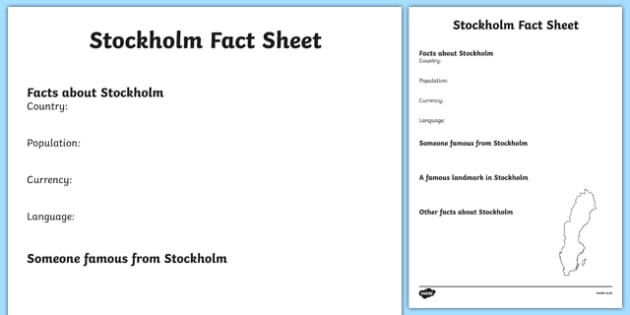 Stockholm Factsheet Writing Template - stockholm, stockholm fact file, stockholm worksheet, swedish capital, capital cities, sweden, city, ks2 geography