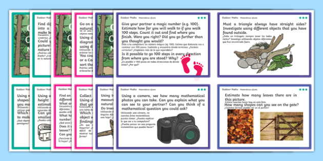 Outdoor Maths Challenge Cards Spanish Translation - spanish, Maths, outdoors, challenge, add, addition, plus, total, sum, altogether, equals, subtract, subtraction, minus, takeaway, less than, more than, greater than, multiply, multiple, multiplicati