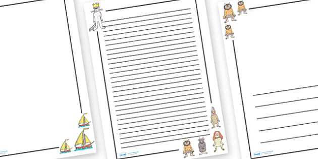 Page Borders to Support Teaching on Where the Wild Things Are - Where the Wild Things Are, Maurice Sendak, Wild Things, resources, Max, wild rumpus, boat, wolf suit, dream, fantasy, story, story book, story book resources, story sequencing, story res