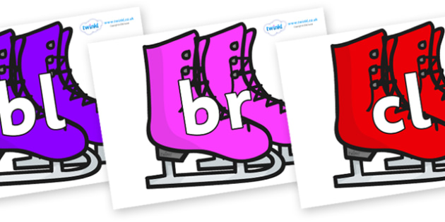 Initial Letter Blends on Ice Skates - Initial Letters, initial letter, letter blend, letter blends, consonant, consonants, digraph, trigraph, literacy, alphabet, letters, foundation stage literacy