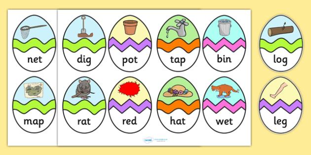 CVC Mixed Words Easter Egg Matching Activity - CVC, easter egg