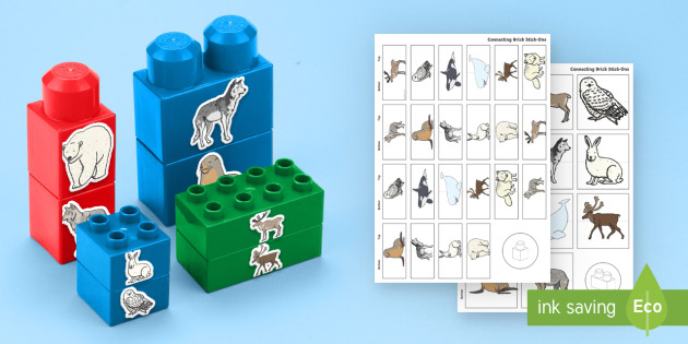 Polar Region Animals Matching Connecting Bricks Game - EYFS, Early Years, KS1, animals, living things, arctic, antarctic, North Pole, South Pole, penguin,