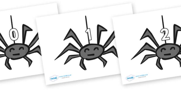 Numbers 0-31 on Spiders - 0-31, foundation stage numeracy, Number recognition, Number flashcards, counting, number frieze, Display numbers, number posters