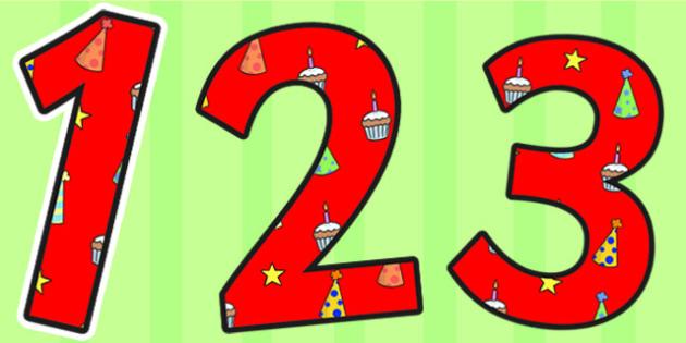 Birthday Themed Display Numbers 4 - birthday, numbers, display
