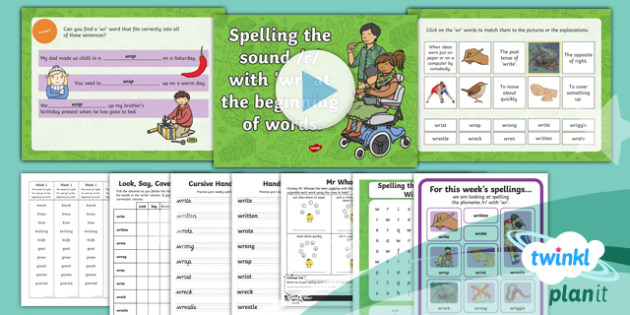 PlanIt Y2 Term 1A W2: 'wr' Spelling Pack
