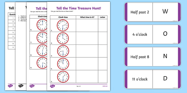Tell the Time Treasure Hunt Activity Sheet Pack, worksheet