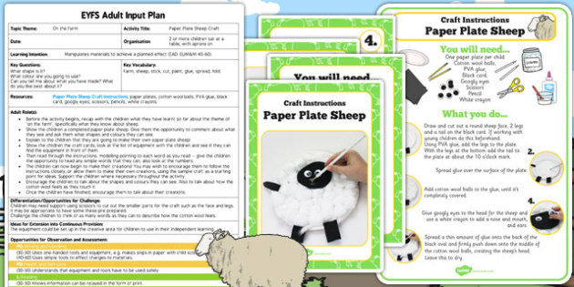 Paper Plate Sheep Craft EYFS Adult Input Plan and Resource Pack - craft