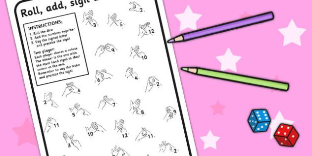 British Sign Language Alphabet Colour and Roll Worksheet - colour