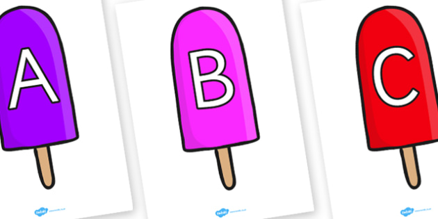 A-Z Alphabet on Ice Lollies - A-Z, A4, display, Alphabet frieze, Display letters, Letter posters, A-Z letters, Alphabet flashcards