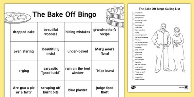 Staffroom Bake Off  Bingo