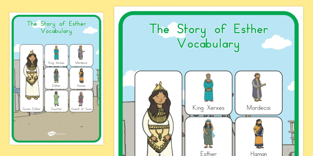 The Story of Esther Bible Story Vocabulary Poster - usa, america, posters, display, esther, bible