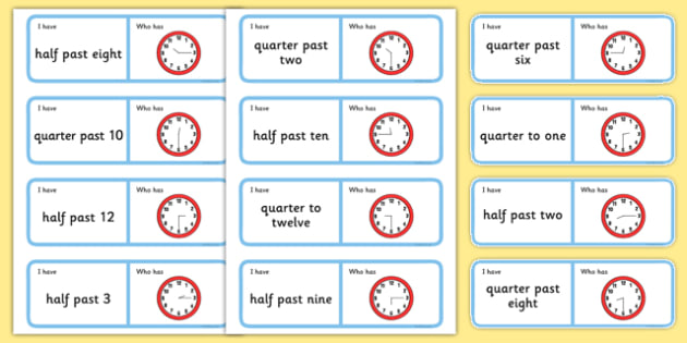 O'Clock, Half Past, Quarter Past and Quarter to Loop Cards - loop cards