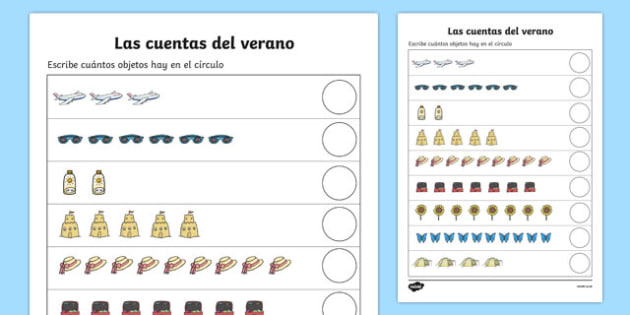 Las cuentas del verano Summer Counting Activity Sheet Spanish - Counting worksheet, Summer, counting, activity, how many, foundation numeracy, counting on, counting back, holiday, holidays, seasons, beach, sun, flowers, ice cream, sea, seaside, count
