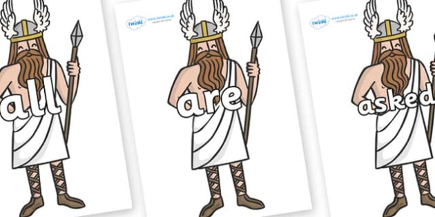 Tricky Words on Viking Gods - Tricky words, DfES Letters and Sounds, Letters and sounds, display, words