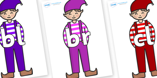 Initial Letter Blends on Elf (Boy) - Initial Letters, initial letter, letter blend, letter blends, consonant, consonants, digraph, trigraph, literacy, alphabet, letters, foundation stage literacy