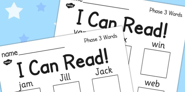 I Can Read! Phase 3 Words Activity Sheet Pack - phase 3, read, worksheet