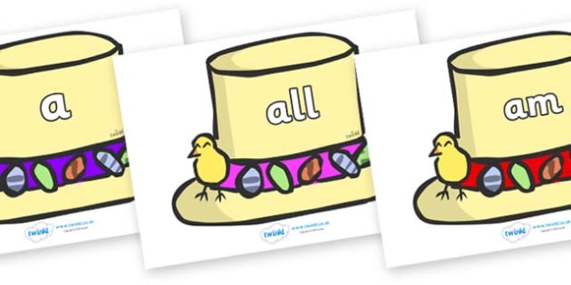 Foundation Stage 2 Keywords on Easter Bonnets - FS2, CLL, keywords, Communication language and literacy,  Display, Key words, high frequency words, foundation stage literacy, DfES Letters and Sounds, Letters and Sounds, spelling